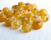 Golden Sands - 6 x 8mm sea glass finish rutilated golden opal beads (10), brown gold czech beads, rondelle beads, picasso beads, uk beads