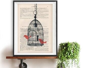 Artprint Bird cage two red birds vintage paper image art print wall decor bird illustration birdcage print, birdcage vintage christmas gift