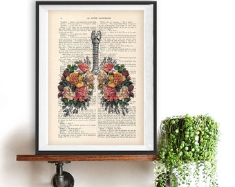 Botanic Roses Lungs Anatomy Print on 1900 vintage floral page, Doctor gift, Anatomy Illustration, human anatomy art, science drawing, love