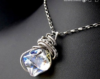 Harang - Swarovski, silver, wire wrapping pendant necklace
