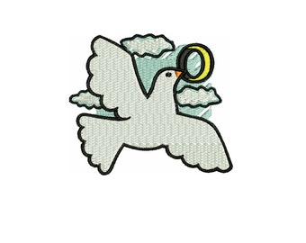 embroidery design  Dove with wedding ring embroidery file