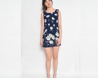 Vintage 90's Daisy Print Blue Dress / Sleeveless Navy Blue Mini Dress / Floral Mini Dress  - Size Small