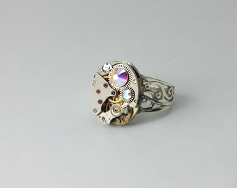 Steampunk Watch Ring Steampunk Ring Steampunk Jewelry Sterling Silver Ring Vintage Ring Steampunk Watches Gothic Ring Victorian Ring