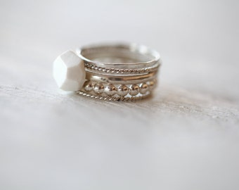 Amur.Silver and porcelain stacking rings. Porcelain Stone