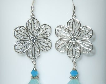 Swarovski Crystal Earrings with Shades of Blue Beads - Fun and Whimsical!
