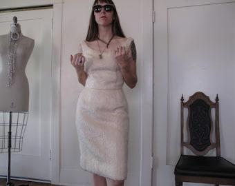 70's Fuzzy White Dress sz Med