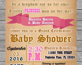 Baby Carriage pink Baby Shower Invitation printable, horse and carriage, princess, queen