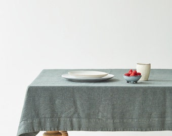 Forest Green Washed Linen Tablecloth