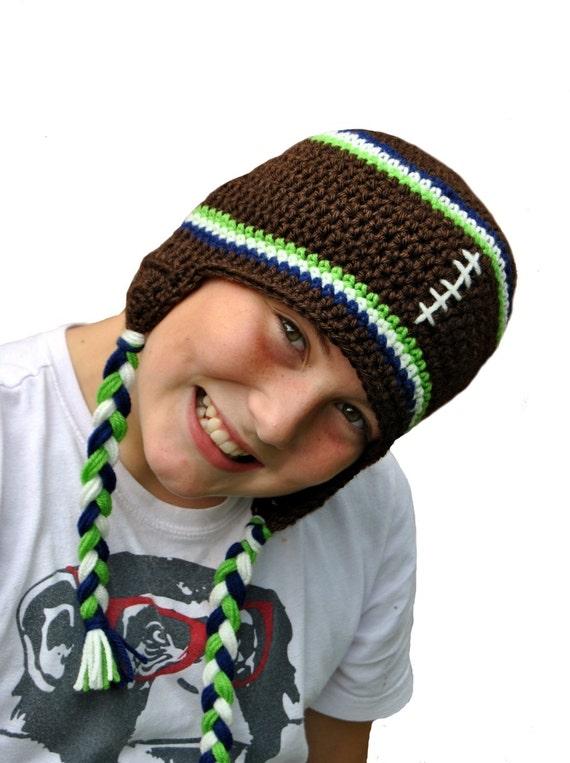 Crochet Football Team Spirit Hat, Football Beanie, Knit Boys Hat, Kids Football Hat, Mens Knit Hat, Customizable Team Hat, School Colors Hat