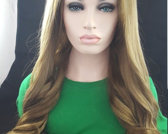 Melanie -Human Hair Rooted Blonde Wig 20""