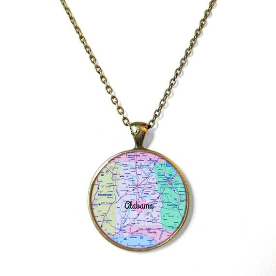 Alabama Charm Bracelet: Alabama Necklace Alabama Map Jewelry Alabama State Necklace