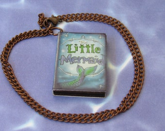Little Mermaid Book Necklace *book,literature,reading,Danish,blue,Hans Andersen,fun jewelry,gift ideas,for her,book lovers,classics