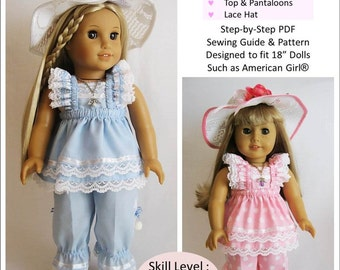 Pixie Faire Little Miss Muffett Easter Parade Bundle Doll Clothes Pattern for 18 inch American Girl Dolls - PDF