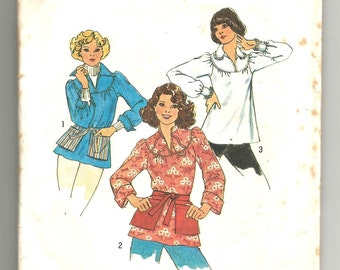 7397 Simplicity Sewing Pattern Pullover Top & Tie On Pockets Size Medium 12-14 Vintage 1970s 34B 36B