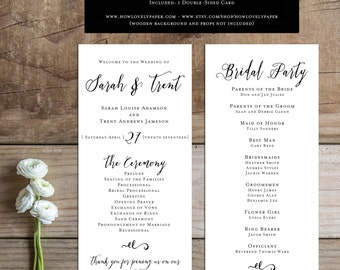 Printable Wedding Program - the Angie Collection - Wedding Program