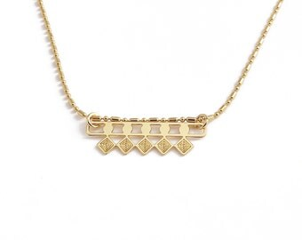 "End of collection-20% geometric lightweight dainty necklace gold fine ""Five"""