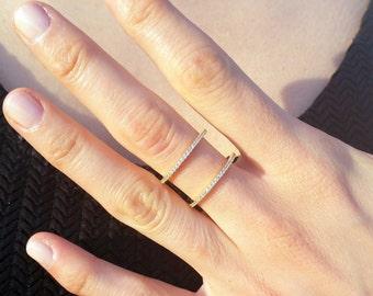14K Gold Double Half Round Ring - 14K Gold with Swarovski Stone - Wedding Band - Engagement Ring - Wedding Band - Bridesmaid Gift - Ring