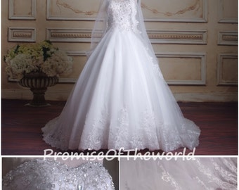 Beaded ball gown wedding dress, tulle lace bridal gown, sweetheart chapel train church wedding gown