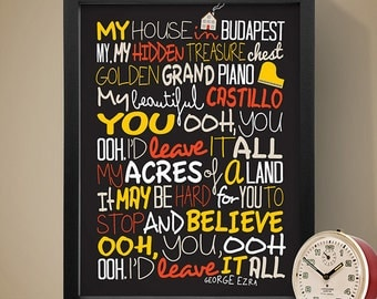 George Ezra - Budapest / Song Lyric Typography Poster