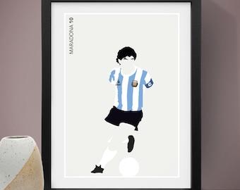 Diego Maradona Poster, Football Poster, Football Print, A4 Print