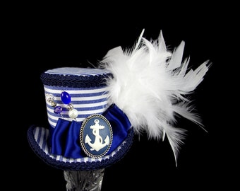 Navy Blue and White Striped Nautical Anchor Medium Mini Top Hat Fascinator, Alice in Wonderland, Mad Hatter Tea Party, Derby Hat
