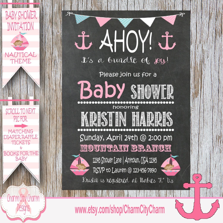 Nautical Baby Shower Invitation Nautical Girl Shower