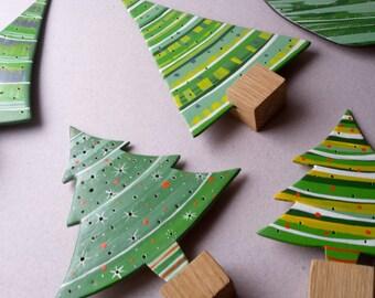 Small, christmas ornaments, handmade wooden christmas trees, handpainted decorations, christmas decorations, vintage christmas decor, ooak