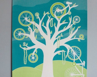 """Bicycle Tree Poster- 18x24 """"Cycles"""" Limited Edition Screen Printed Art Poster"""