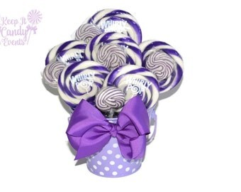Purple lollipop centerpiece, Purple candy arrangement, purple candy buffet, purple baby shower, purple table decoration, purple wedding idea