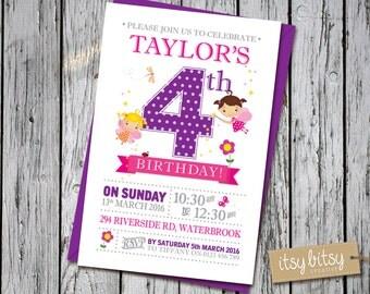 Fairy Invitation 4th Birthday, 3rd Birthday Fairy Invitation, 5th Birthday Fairy Invitation, Fairy Invitation, Fairy Invite, Fairy Party,