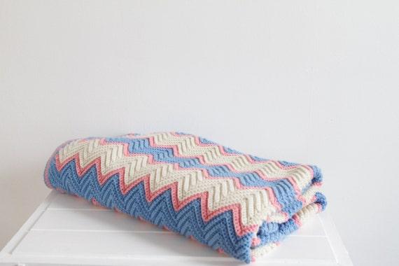 crochet zig zag afghan double blanket blue pink pastel