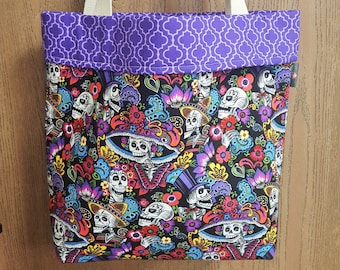 Large tote bag, Tote bag, Fabric tote, Day of the dead