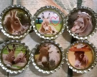Six I Love Donkeys Magnets on Silver Bottle Caps