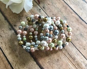 Pastel Pearl Cuff Bracelet - Cuff Bracelet - Pastel Bracelet - Pearl Bracelet - Pastel Pearls - Multicolored Bracelet - Trendy Bracelet