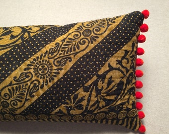 Kantha Lumbar Throw Pillow 11 x 20 INSERT INCLUDED