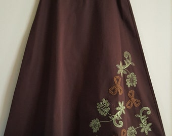 Vintage Brown Bechamel Long Skirt Design on Front and Back