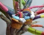 Rainbow gummy cupcake earrings,Rainbow cupcake earrings,Cupcake earrings,Food jewelry,Miniature food jewelry,Polymer clay jewelry
