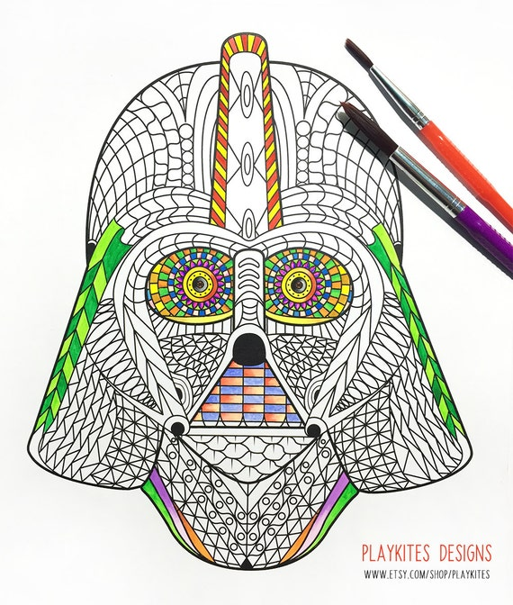 Darth Vader Helmet Zentangle Coloring
