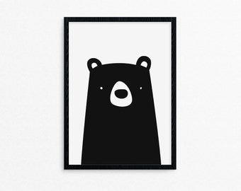 3 dollar shipping - Black Bear Print - nursery, birthday, baby shower theme