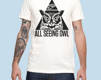 Owl Tshirt, White Owl Tee, Screen Printed Tshirts, Owl Shirt.