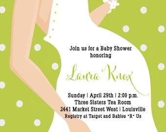 Baby Shower Invitation, Expecting Mom Baby Shower Invitation, Polka Dots, Gift, Printable