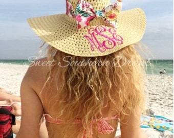 Monogram Adult Floppy Summer Derby Beach Sun Hat with Bow - choose your fabric