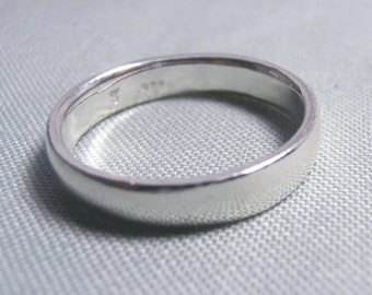 Comfort Fit Plain Wedding Band .925 Sterling Silver - Free  Shipping!