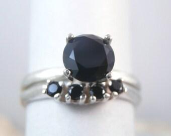 SPINEL - Genuine Black Spinel Sterling Engagement Ring with Black Spinel Wedding Band Set!