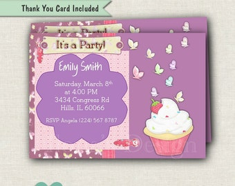 Butterfly Birthday Invitations Printable - Girl Purple Birthday Invite - Purple Birthday Invitation Printable