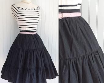 black cotton ULTRA full ruffle tiers high waist Vintage 1950s pinup rockabilly circle skirt