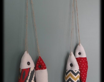 FISH STRINGER  with 2 Fish, Red and Blue Fish Nursery Decor, Children's Room Decor