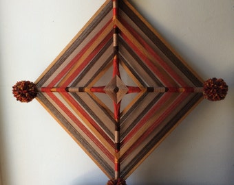 Earthy Tones God's Eye Wall Hanging with Pompoms