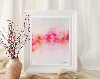 Peony Print, Pink Peonies Art Print, Pink Abstract Printable Art, Peonies Wall Art Printable Painting 8x10 Instant Download Art Gift for Her