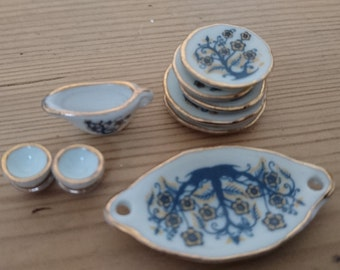 Tiny vintage China dolls house plates and cups